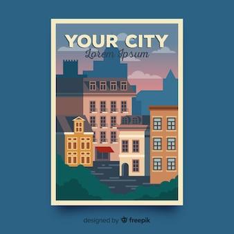 Retro- förderndes plakat einer stadtschablone