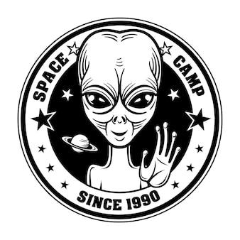 Retro fremde grußleute vektorillustration. raumlager-emblem mit außerirdischem charakter