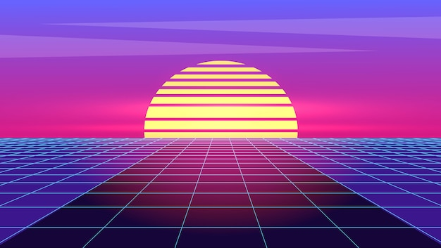 Retro-futurismus. futuristischer synth wave retro.
