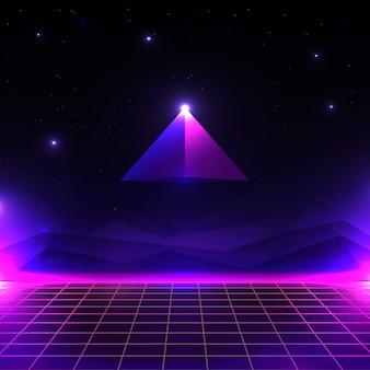 Retro futuristische landschaft, leuchtende cyberwelt mit gitter- und pyramidenform. sci-fi hintergrund 80er jahre stil.