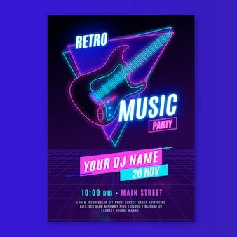 Retro futuristische musik flyer vorlage