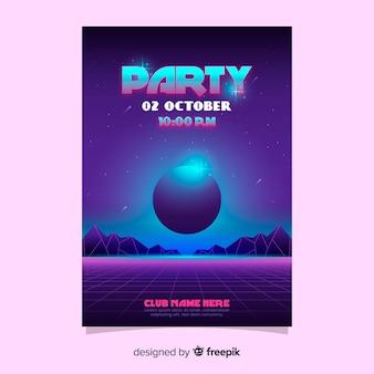 Retro futuristische party plakat vorlage