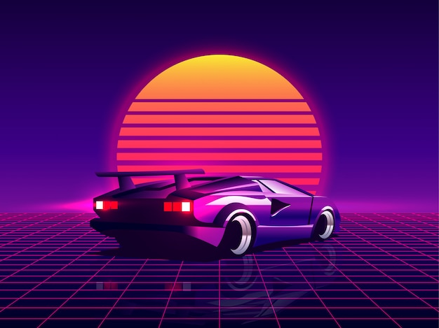 Retro futuristische rückseitenansicht 80er supercar auf trendigen synthwave / vaporwave / cyberpunk sonnenuntergang hintergrund. zurück zum 80er konzept.