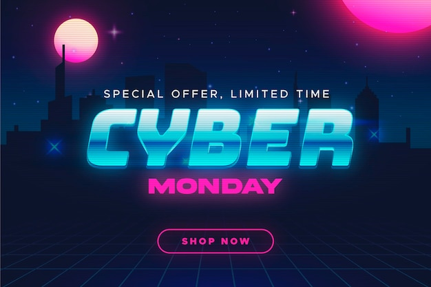 Retro futuristischer cyber montag