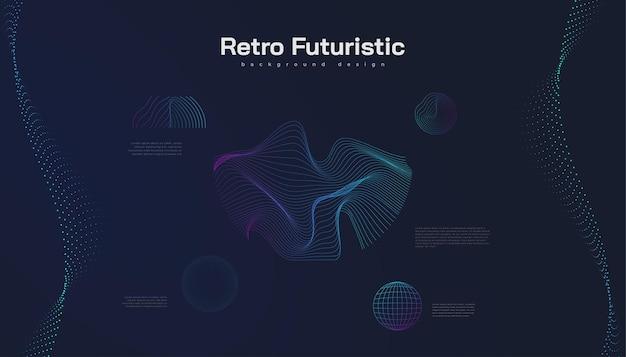 Retro-futuristischer hintergrund mit abstrakten bunten gewellten formen. science-fiction-vektorillustration, kann für banner, landing page, cover, präsentation und mehr verwendet werden