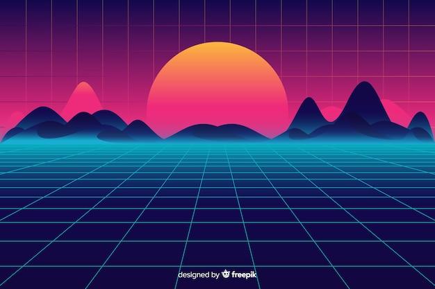 Retro- futuristischer sciencefictionlandschaftshintergrund, purpurrote farbe