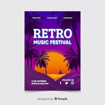 Retro futuristisches musikplakat mit sonnenuntergangschablone