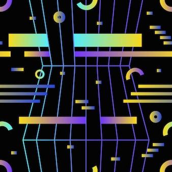Retro-futuristisches nahtloses muster mit gradienten farbigen horizontalen streifen, ringen und kreisen auf schwarzem hintergrund. vektorgrafik im hipster-stil für packpapier, textildruck, hintergrund.