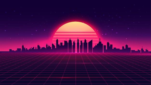Retro futuristisches synthwave retrowave gestyltes nachtstadtbild mit sonnenuntergang auf hintergrund.