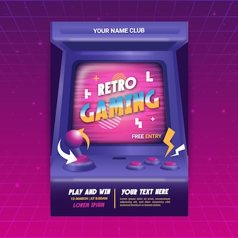 Retro gaming flyer vorlage