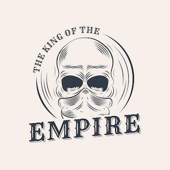Retro gangster logo mit schädel