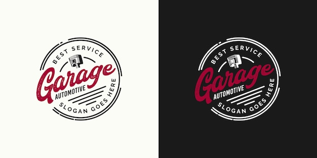 Retro-garage automotive bestes service-logo-design-konzept