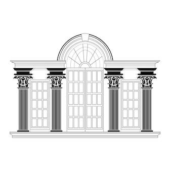 Retro gebäude-design