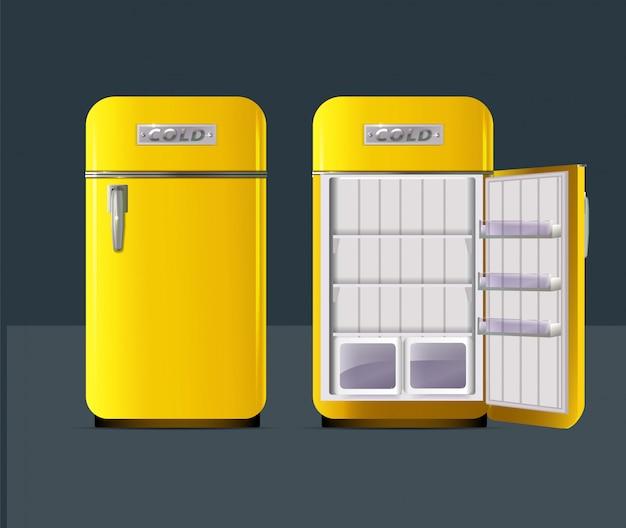 Retro gelber kühlschrank im realistischen stil lokalisiert
