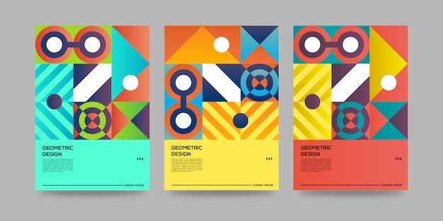 Retro- geometrische abdeckungsschablone mit bauhausdesign