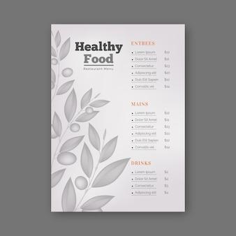 Retro gesunde lebensmittelrestaurantmenüschablone