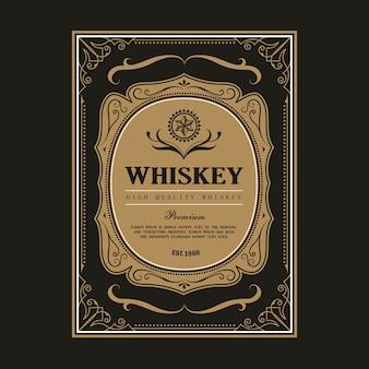 Retro gezeichnete gravur der antiken vektorillustration des whisky-weinleserahmen-grenzetiketts retro