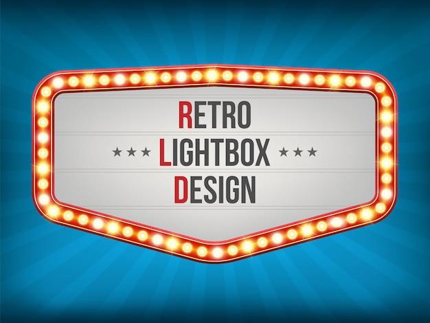Retro- glühlampefeld, fahnendekorationsvorhänge