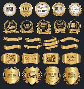 Retro- goldene ausweise des superverkaufs und aufklebervektorsammlung