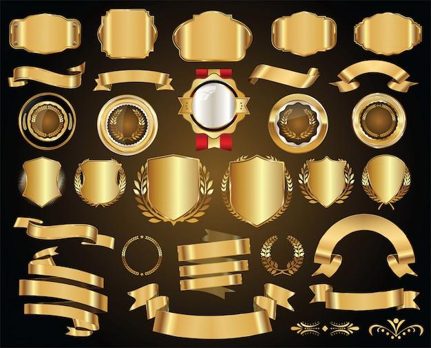Retro goldenes abzeichen
