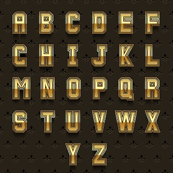 Retro goldenes alphabet. typ abc, satzdesign glänzend, königliche sammlung