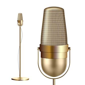 Retro goldenes mikrofon mit standplatz