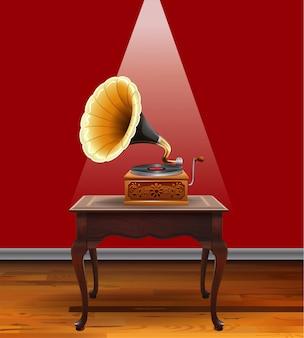 Retro grammophon auf dem tisch