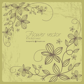 Retro-grunge floral vector art