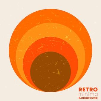 Retro-grunge-textur-hintergrund mit der vintage-gestreiften sonne. vektor-illustration.