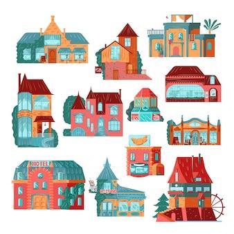Retro häuser und hüttenfassadenikonen setzen flache illustrationen lokalisiert auf weiß.