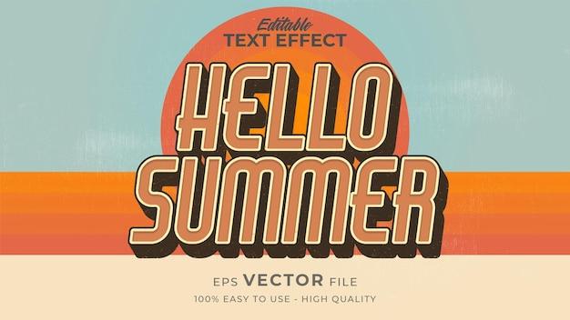 Retro-hallo-sommer-text im grunge-stil-thema