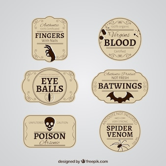 Retro halloween-etiketten