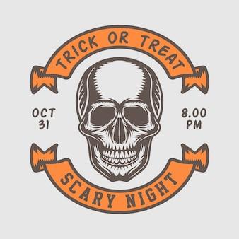 Retro halloween-logo der weinlese