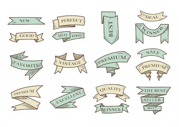 Retro hand gezeichnete karikaturvektorbänder