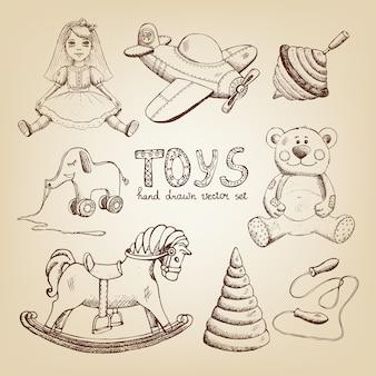 Retro handgezeichnete spielzeuge: puppe flugzeug whirligig teddybär