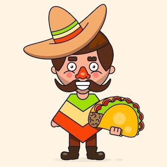 Retro heiße mexikanische ikone. fast food. bio-zutaten. mexikanisches taco-essen.