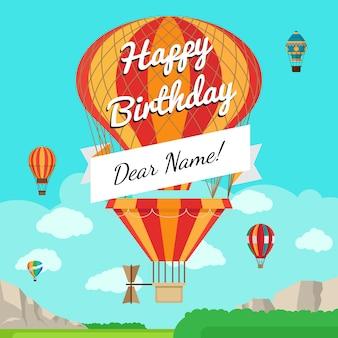 Retro heißluftballon mit mitteilungsfahne