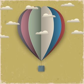Retro heißluftballon und wolken aus papier