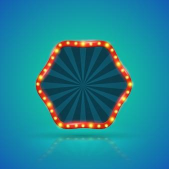 Retro- helle fahne der hexagone mit glühlampen auf der kontur