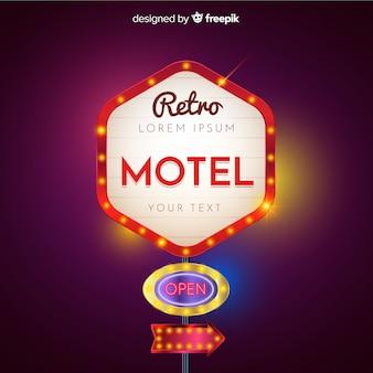 Retro- helles anschlagtafeldesign des motels
