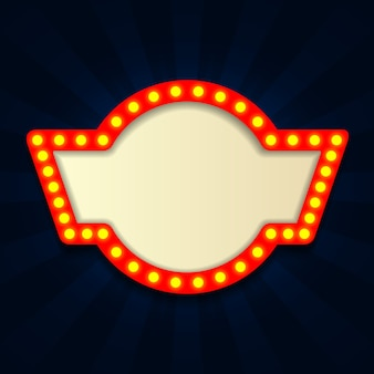 Retro- helles weinleseschild, kino mit lightbulp