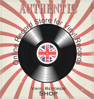 Retro- hintergrund der vinylaufzeichnung
