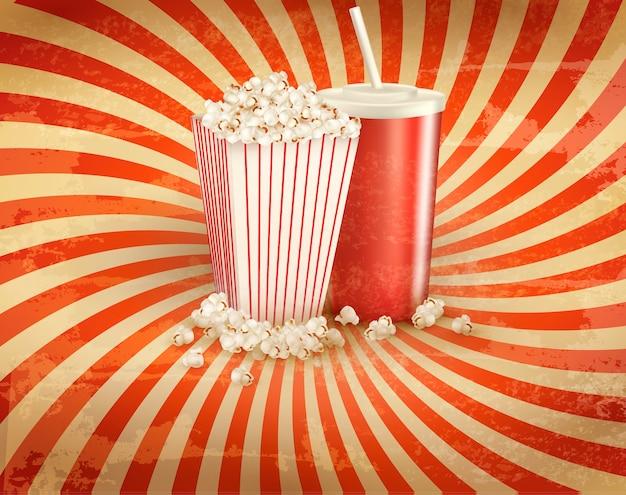 Retro hintergrund mit popcorn und einem getränk