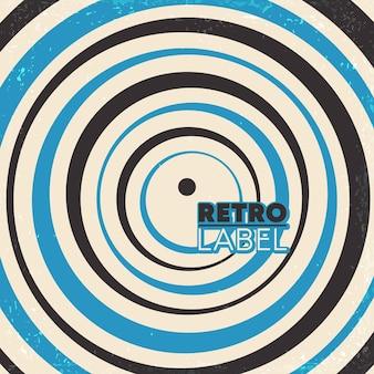Retro hintergrunddesign mit kreisförmigen linien und vintage grunge textur. vektorillustration.