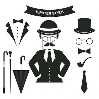 Retro hipster männlicher charakter mit hipster-elementen und icons