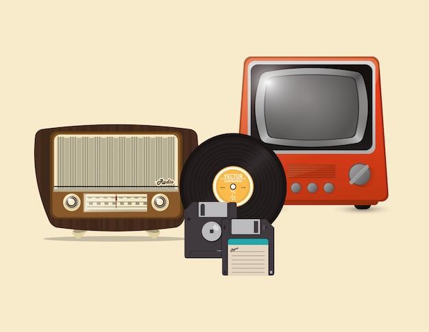 Retro-hipster-radio vinyl-lp-disketten- und tv-ikonen bild