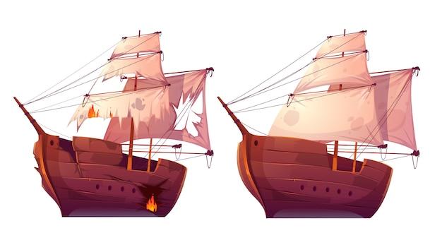Retro holzschiffe mit weißem segel cartoon