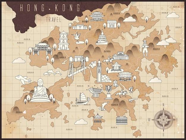 Retro-hongkong-reisekarte auf braunem papier