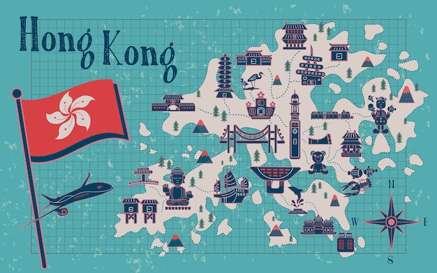 Retro-hongkong-reisekarte auf briefpapier Premium Vektoren