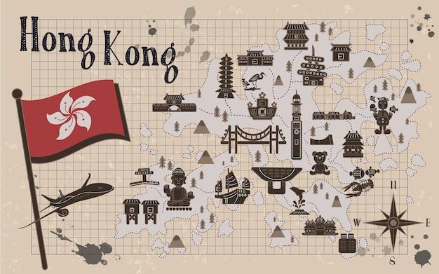 Retro-hongkong-reisekarte auf briefpapier
